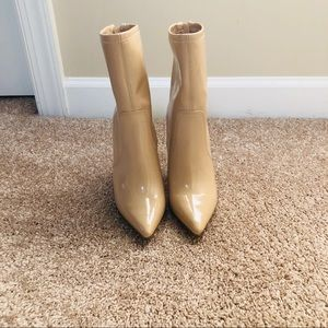 NUDE FAUX PLASTIC LEATHER BOOTS